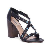 New Valentino Rockstud Rolling Leather Block Heel Sandals Size 37EU/7US $1045.00