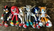 "Sonic The Hedgehog Plush 12"" Lot of 6 Super Gold Silver Shadow Tails Knuckles"