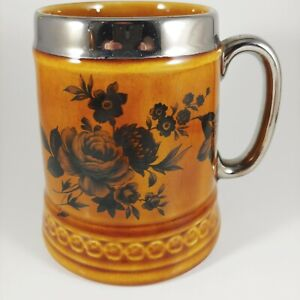 LORD NELSON Brown & Silver Floral Mug - vtg 10oz Rose Flower Ceramic Coffee Cup
