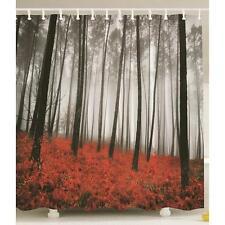 Mystic Forest Trees Red Grass Modern Art Foggy Scene Print Fabric Shower Curtain