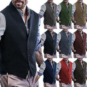 Doublecollar Vest Men Waistcoat Tweed Groom Vintage Herringbone Wool Lapel Retro