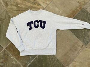 Vintage TCU Horned Frogs Champion Reverse Weave College Sweatshirt, Size Medium