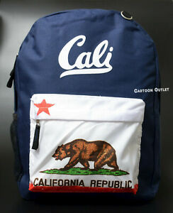 "CALIFORNIA REPUBLIC BACKPACK SCHOOL BAG TRAVEL MOCHILA LARGE 16"" NAVY BLUE BEAR"