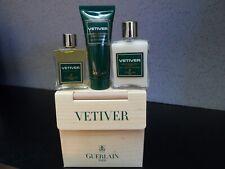 Vetiver Guerlain Vintage Set -28.5 ml After Shave BALM,15 ml EDT,  Shampoo, New.