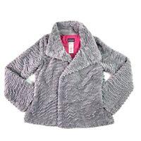 Patagonia Pelage Womens Winter Gray Fuzzy Furry Jacket Zip Snap Coat Size Small