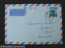 1959 old China stamp cover, SG265 52f stamp dd1959.1.8 fm shanghai to Denmark