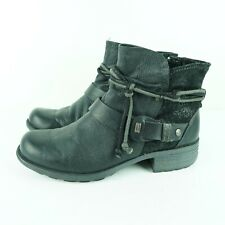 Earth Origins Pandora Booties Womens Size 9 M  Black Leather Ankle Boots Harness