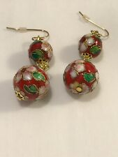 Red White Cloisonne Pink Flower Dangle Drop Round Ball Earrings Gold Tone