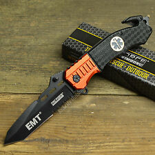 "8 3/8"" EMT Red Black Tanto Point Spring Assisted Open Tactical Rescue Knife New!"