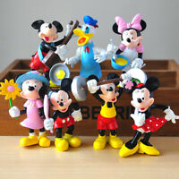1 Set of 7 Disney Mickey Minnie Donald Duck Figures Cake Ornament Doll Toy 7-9cm