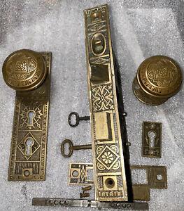 Antique Authentic Barrows  Entry  Set Door Lock Doorknobs, Backplates