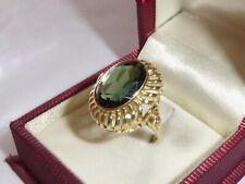 14K Gold 585 Gelbgold Turmalin Ring Goldring grüner Stein RG 53 -16,8 mm 2288