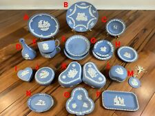 Vintage Wedgwood England Blue Jasperware Collection w/ Bowls, Cups, Vases +