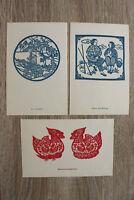 China 12 AK Scherenschnitte Motive auf Postkarten Drucke Holzschnitt? 1950s +++