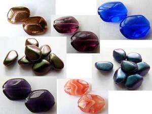 14(mm) TWISTED OCTANGULAR RECTANGULAR CUSHION CZECH GLASS BEADS - (10PCS)