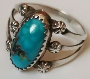 NAVAJO Sterling Silver VINTAGE Turquoise Pyrite Ring NATIVE AMERICAN