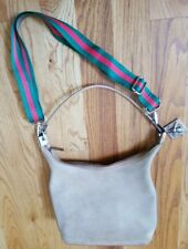 Authentic Gucci bucket bagSuede handbag purse tote hobo GG Logo Silver hardware