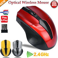 Wireless 2.4GHz Optical Mouse Mice Cordless USB Receiver For Laptop PC Computer.