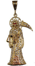 Santa Muerte-Holy Death-Grim Reaper 18K Gold Plated Cubic Zirconia and 24 Chain