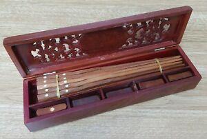 CHOPSTICKS 10 Pairs Wooden Chopsticks Vietnam With Rests In Ornate Wooden Box