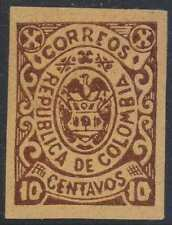 COLOMBIA CARTAGENA 1902 Sc 190 Yvert 13a IMPERF PROOF ON YELLOW PAPER F,VF