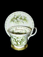 Royal Albert Bone China Flower of the Month JANUARY Snowdrops Tea Cup Saucer EUC