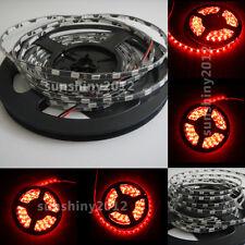 5M 5630 LED Red Super Bright LED Strip Light IP67 Waterproof 5MM BLACK PCB 12V