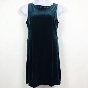 Hillard & Hanson 10 Dress Velvet Knee Length Sleeveless Tie Back Blue Green VTG?