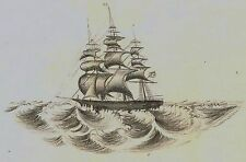 SUPERB 1850s Micro Miniature Drawing of American Ship - Rochester NY