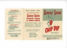 Granny Goose Chip Dip Recipes Folded Advertising Card With 13 Dip Recipes Scarce