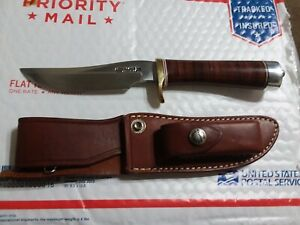Randall Made Knives model 3-5 leather handle knife stainless steel