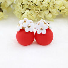 ED22 Flower Bouquet Double Sided Earrings Red White Pink Black