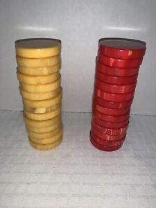 "Marbleized Cherry & Butterscotch/Egg Yolk Bakelite Backgammon Checkers 28 1.75"""
