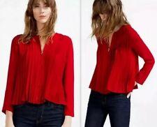 Zara XS Red Pleated Chiffon Blouse Jacket Zip Top Loose Floaty