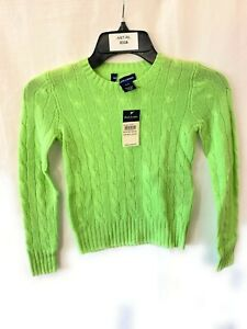 Children Polo Ralph Lauren Cable Knit Cashmere Sweater Spring Lime