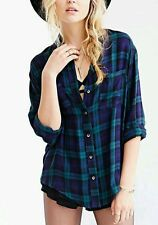 Urban Outfitters Plaid Button Down Long Sleeve Top Super Soft Tartan Size XS