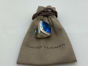 David Yurman Sterling Silver 925 Albion Ring in Blue Topaz size 8