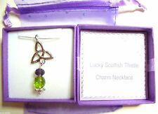 Lucky Scottish Thistle Celtic Charm Pendant Necklace handmade in gift box & bag