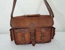 DSLR Camera Real Leather Bag Padded Briefcase Macbook Satchel Messenger bag