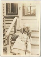 Grandmother with Apron & Cane Sits on Wood Porch Steps Vintage 5x7 Photo