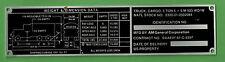 VTG AM General M923 WO/W Vehicle Badge Nameplate N