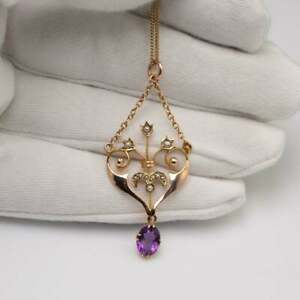 """Antique Amethyst & Pearl Drop Pendant 18"""" Chain Necklace 18K Yellow Gold Over"""
