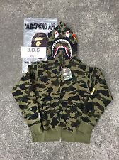 BAPE Green Camo PONR Shark Full-Zip Hoodie *Size L* 100% AUTHENTIC
