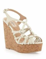VALENTINO Kate Ivory Patent Leather Slipknot Cork Wedge Sandal Shoe 39 NIB