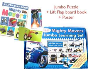 First Mighty Movers Jumbo Set New Lift Flap Board Book + Puzzle + Poster vehicle