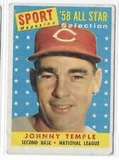 1958 Topps Johnny Temple Sport Magazine All Star Card No. 478 Poor Condition