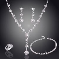 Eleghant Crystal Necklace Earrings Bracelet Ring Wedding Bridal Jewellery Set