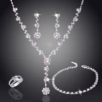 Rhinestone Crystal Necklace Earrings Bracelet Ring Wedding Bridal Jewelry Sets