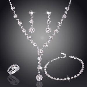 Rhinestone Crystal Necklace Earrings Bracelet Ring Wedding Bridal Jewelry Set