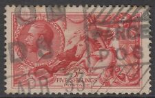 GB KGV 5s. Rose-Red SG416 Five Shillings SEAHORSES George V 1919 Very Good Used